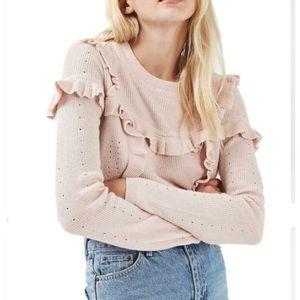 Topshop Blush Pink Ruffle Sweater.